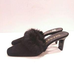 Delman Black fur trim slide heel shoes